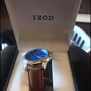 Men's Izod watch with leather band. Brand new.